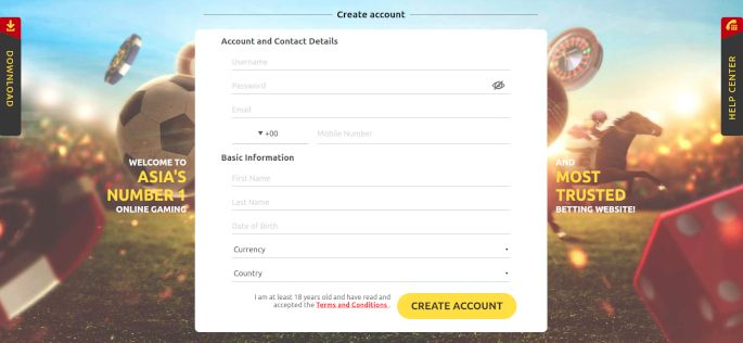 Create account on Dafabet