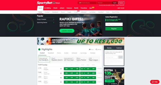 SportyBet home page