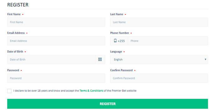 PremierBet registration